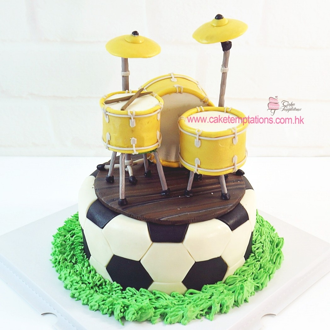 Soccer Ball Cake With Drum Set