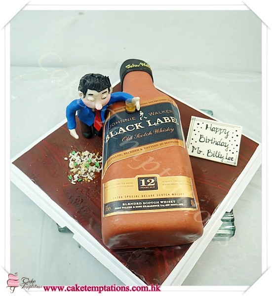 3d Black Label Bottle Cake W Drunk Man Food Cigarette Alcohol