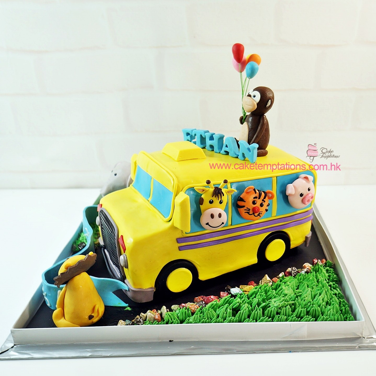3d Animals School Bus Cake Bus Transportation Sports