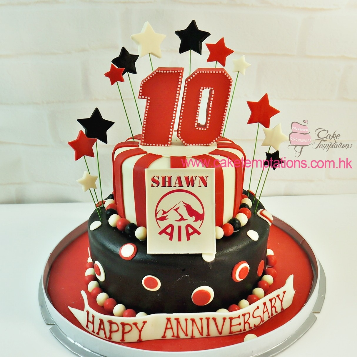 2 Layers 10 Happy Anniversary Cake Corporate Celebrity