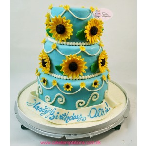 3 layers sun-flowers cake