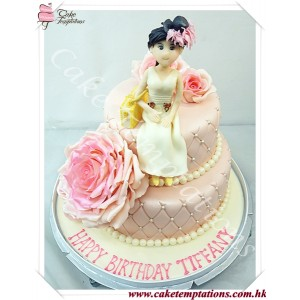 Elegant CHANEL Pattern With Beautiful Lady & Handbag Cake