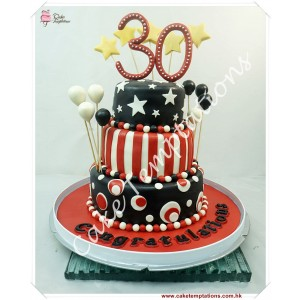 3-Layers Celebration 30th Happy Anniversary Cake