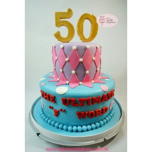 2 layers 50th Cake