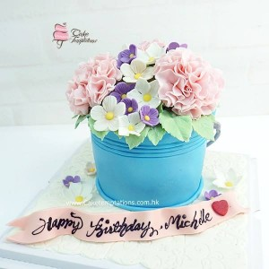 3D Bouquet bucket cake