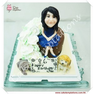 White Roses W. Lady & Cute Dog Cake