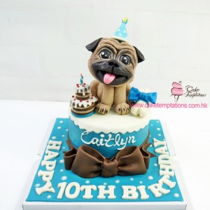 3D Pug Dog Birthday Cake