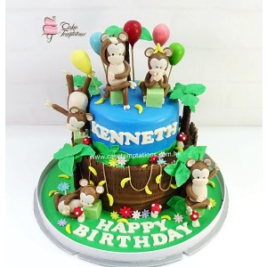 2 Tiers Monkey's Party Cake