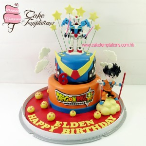 2 layer of SD Gundam X Dragon Ball themed cake