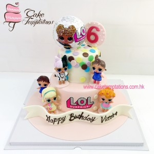 2 Tiers LOL Surprise Dolls Birthday Cake