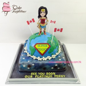 3D Earth Cake with wonder woman figure