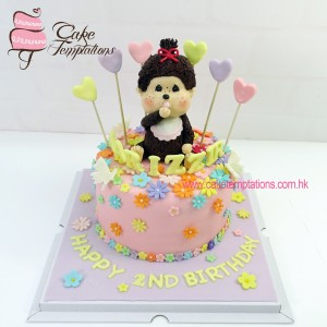 Monchhichi baby girl birthday cake