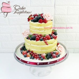 2 Tiers Naked Fruit Cake