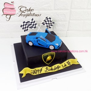 Lamborghini Blue Racing Car Cake