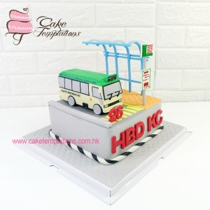 Green Mini Bus Cake
