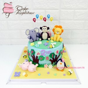 1 tier Animals 2nd birthday celebration Cake