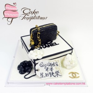 3D Black Chanel Bag with Classic box Cake