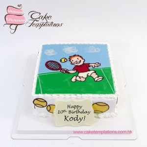 2D Hand-drawing Tennis Cake