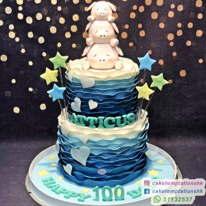 2 Tiers 3 Little Pigs 100 Days Cake