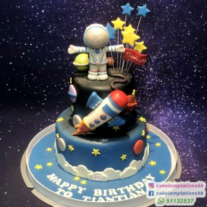 2 Tiers Astronaut In The Space Cake