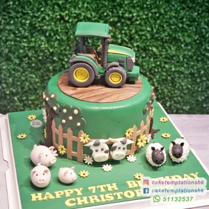 Happy Farm and John Deere Style Tractor Cake