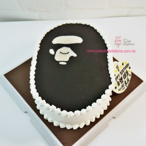 Ape Cartoon Head 2D Cake-Dark Brown Color