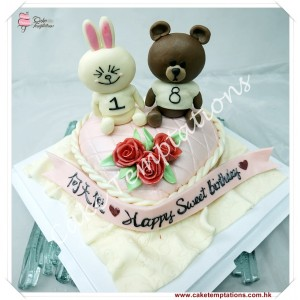 LINE Cony & Brown Birthday Cake
