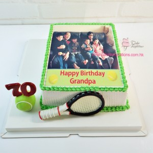 Photo Print - Family Photo with Tennis Racket Cake