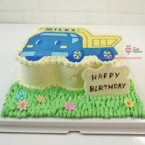 2D cartoon truck cake