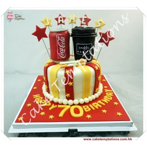 Coca Cola & Coffee Birthday Cake