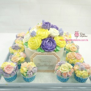 Elegant flowers celebrations cupcake set