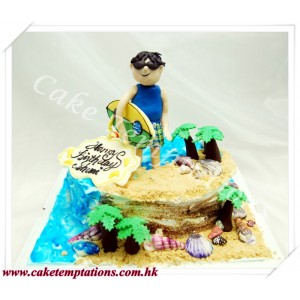 3D Surfing Boy Cake