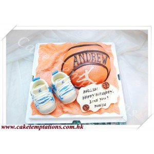 3D basketball with shoes cake