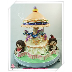 Merry Go Around With Monchhichi Cake