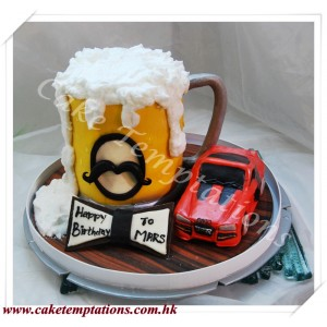 3D Foaming Beer & Car Cake