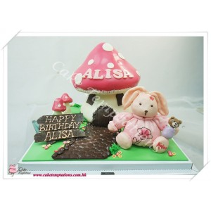 3D Mushroom House with Rabbit Cake