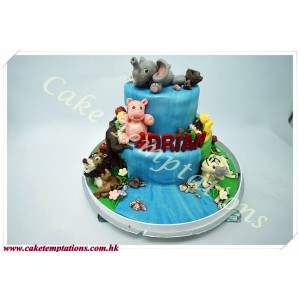 Animal Birthday Party in Jungle Cake