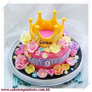 3D Crown with Flower Cake