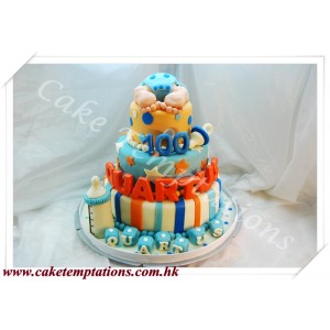 3-Tier Baby Boy & Gears 100 Days Cake