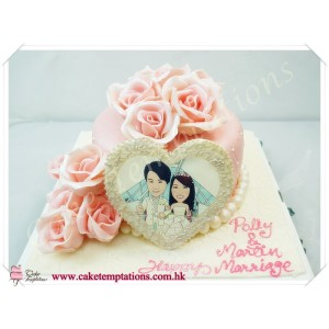 Elegant Chanel Pattern Cake w. Photo Frame