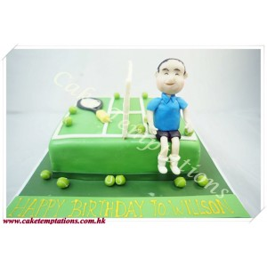 3D Tennis Court W. Man Cake