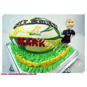 3D Rugby Ball Cake
