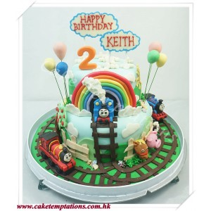 2 layers Thomas theme Birthday cake