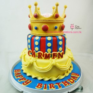 2 Layer Crown Birthday Cake