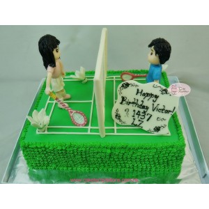 3D Badminton court birthday cake