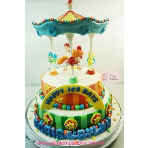 Colorful 3D Circus Carousel Cake