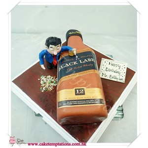 3D Black Label Bottle Cake w. Drunk Man