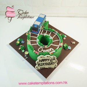 Shaped No.6 Cake with  3D Airport Express