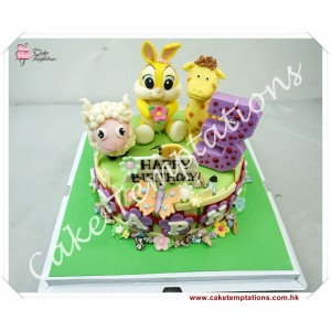 Animals Celebration Party 1 layer cake