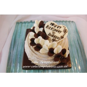 Stylish Black & White Hearts Chestnut Cream Cake